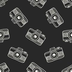 Doodle Camera seamless pattern background