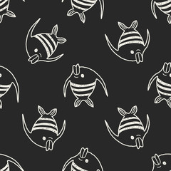Doodle Angelfish seamless pattern background