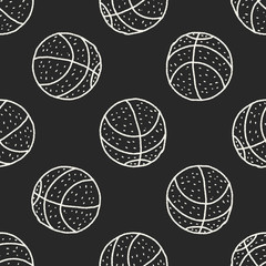 Doodle Basketball seamless pattern background