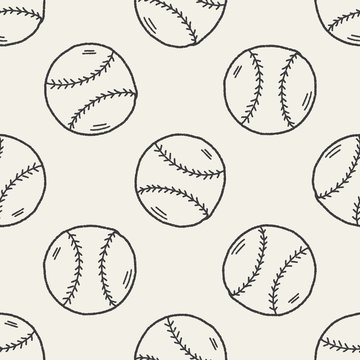 Doodle Baseball seamless pattern background