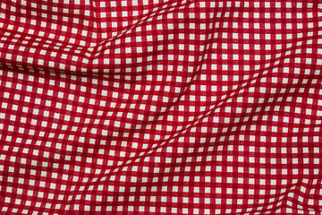 Red textile background./ Red textile