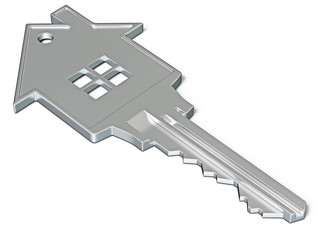 House shaped key isolated on white
