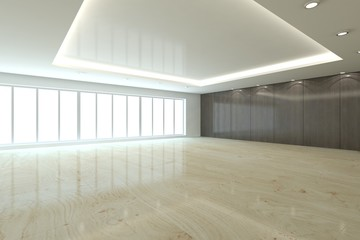 white empty interior concept with panoramic windows