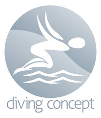 Diver swimming circle design
