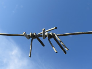Barbed metal wire against the blue sky.