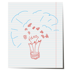 Vector light bulb hand drawn