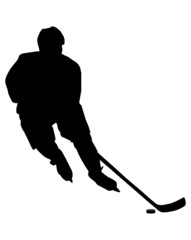 Vector isolated hockey player with a washer on a white background.