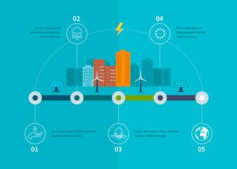 Ecology illustration infographic elements flat design. City