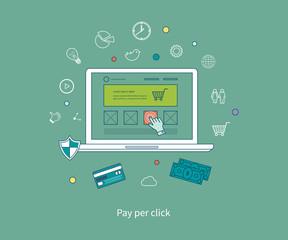 Set of flat design vector illustration concepts of pay per click