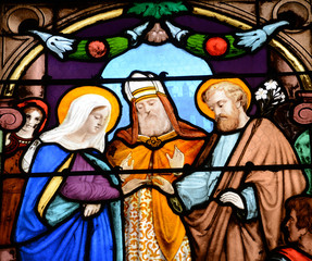 Spoed Foto op Canvas Stained France, stained glass window in the Saint Martin church of Triel