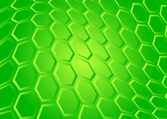 Tech background of transparent hexagon on green screen