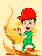 Cute little boy with red ball for Cricket sports concept.