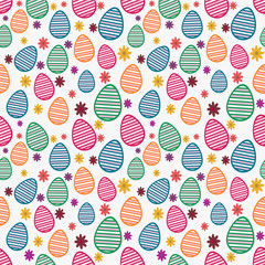 Seamless pattern with colorful eggs for Happy Easter celebration