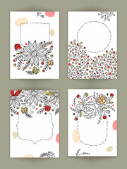 Floral design decorated hand drawn cards set.