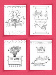 Creative hand drawn party invitation cards set.
