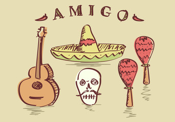 Vector illustration of hand drawn Mexican objects set