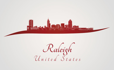 Raleigh skyline in red