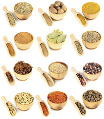 Collage of different spices in bowls isolated on white
