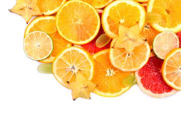 Sliced fruits isolated on white