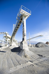 Open pit mining and processing plant for crushed stone, sand and