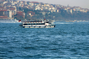 Traditional Istanbul ferryboat in Bosphorus, Istanbul, Turkey