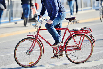 Fototapete - Very red bike, close-up