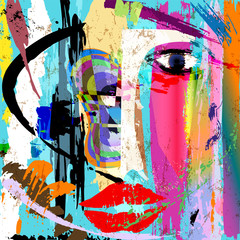 abstract woman's face, with paint strokes and splashes