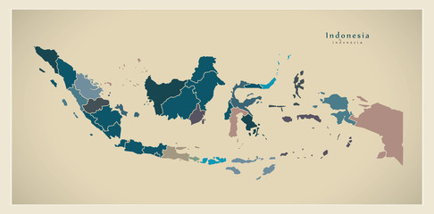 Modern Map - Indonesia with provinces ID