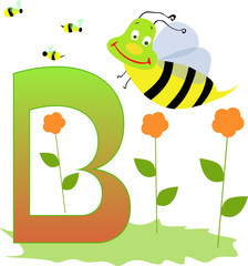 Alphabet letter B with a cute little bee