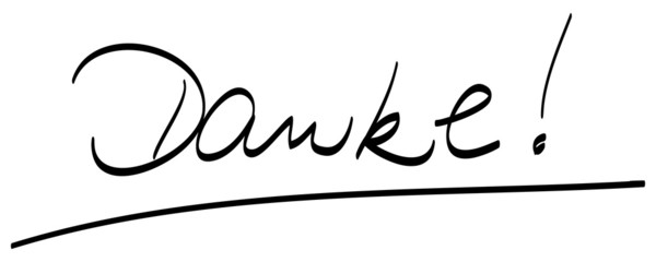 Danke!, handschriftlich, unterstrichen, Vektor, freigestellt