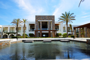 The pool and building of luxury hotel, Crete, Greece