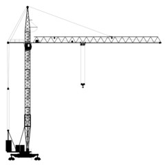 Silhouette of the construction crane