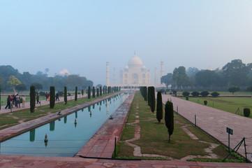 Taj Mahal in the fog early morning