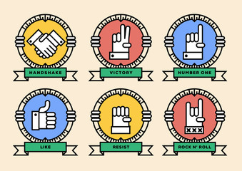 Linear Hand Figures Vector Icon Design