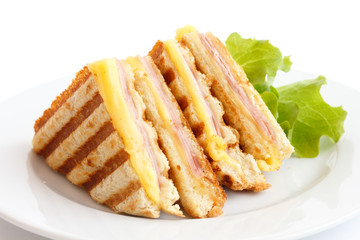 Toasted ham and cheese panini sandwich.