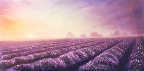 Original oil painting of lavender fields on canvas.Sunset land