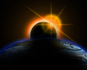 Illustration of a eclipse over a alien sun and planet.