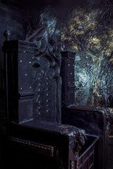 Royal throne. dark Gothic throne, close up