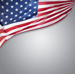 American flag on grey, advertising copy space