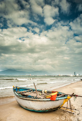 boats on the beach of Da Nang city, Vietnam