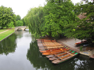 Poster Channel Boats on river in Cambridge