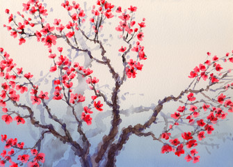 Watercolor landscape in Chinese style. Red flowers bloom on the