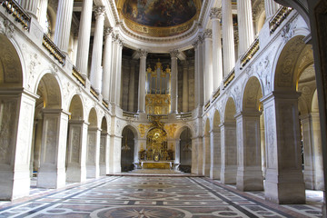 Interior of old cathedral in Paris, France