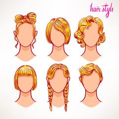 blonde. different hairstyles - 2