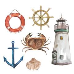 Set of nautical watercolor vector elements: