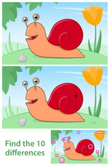 Kids puzzle comparing differences - Snail
