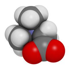 Betaine (glycine betaine, trimethylglycine) molecule.