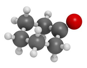 Cyclohexanone organic solvent molecule.