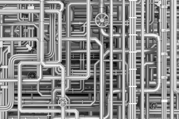 Maze of metal pipes background
