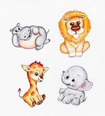 Set of four wild animals